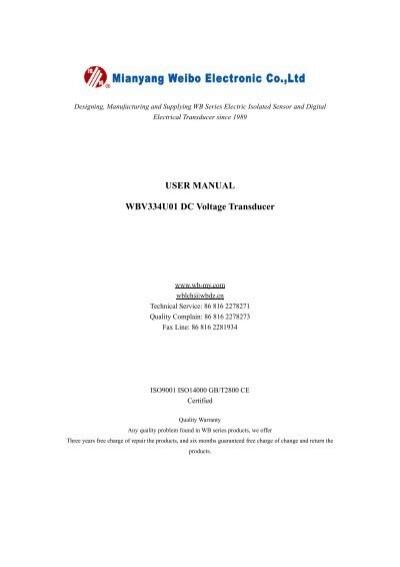 user manual wbv334u01 dc voltage transducer rh yumpu com Instruction Manual Book Owner's Manual