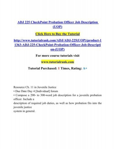 Adj 225 Checkpoint Probation Officer Job Description (Uop