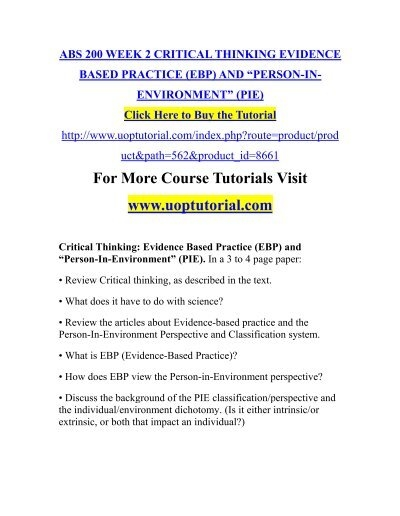 critical thinking evidence based practice ebp and person in environment pie 2 essay
