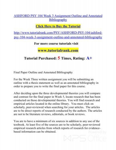 ASHFORD PSY 104 Week 3 Assignment Outline And Annotated Bibliographypdf