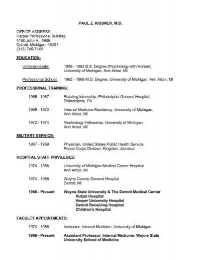 Paul z  kissner, m d  - Division of Nephrology - Wayne State