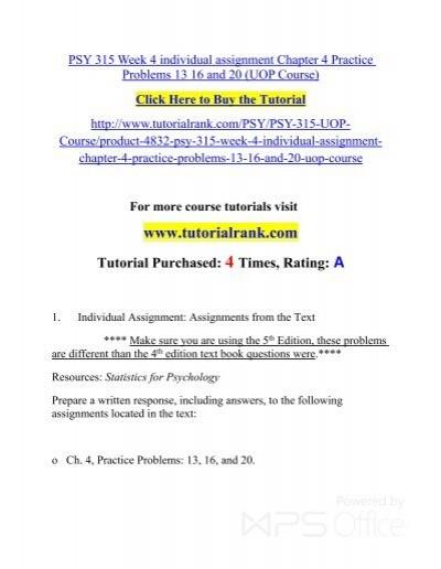 psy 315 week 4 practice problems