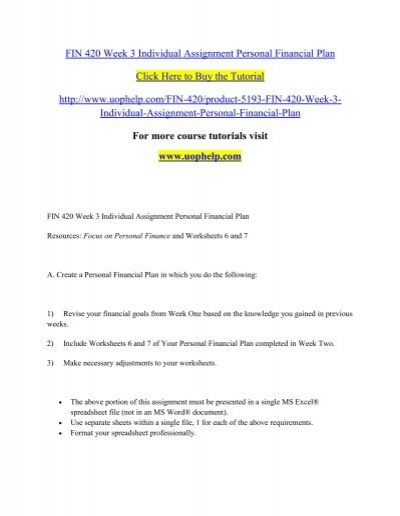 fin 420 week 3 individual assignment personal financial plan pdf