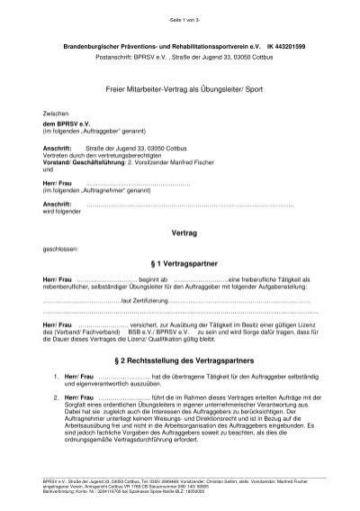 Freier Mitarbeiter-Vertrag als Ãœbungsleiter/ Sport ... - BPRSV e.V.