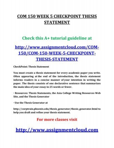 Com 150 week 5 thesis statement oedipus the king essay thesis