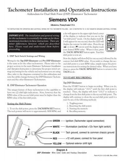 0 511 012 428 -- dual shift point eliminator tach ... - vehicle controls  yumpu