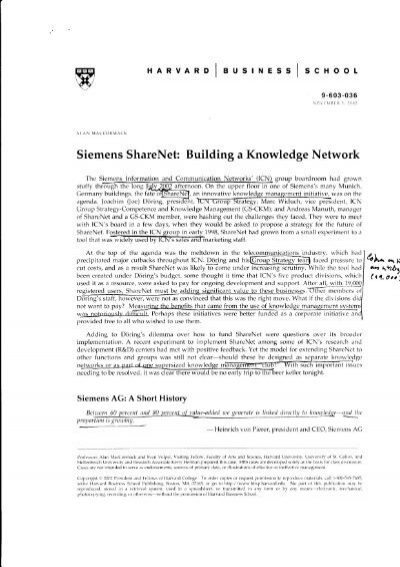 siemens sharenet building a knowledge network essay Siemens share net case study essay of sharenet, which is an innovative knowledge management system which is used by a division of siemens sharenet tries to.