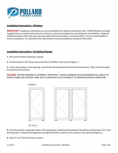 Installation Instructions Windows Pollard Windows Doors