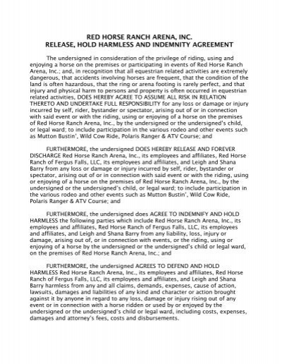 Red horse ranch arena inc release hold harmless and indemnity agreement platinumwayz