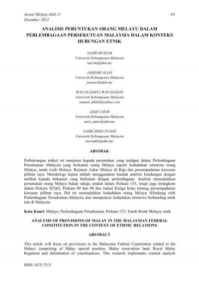 Perlembagaan Persekutuan Malaysia Dalam Konteks Hubungan Etnik
