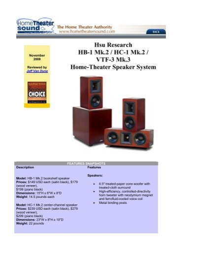 Hsu Research HB 1 Mk2 HC VTF 3 Mk3 Home Theater