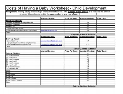 Costs of Having a Baby Worksheet - Child Development