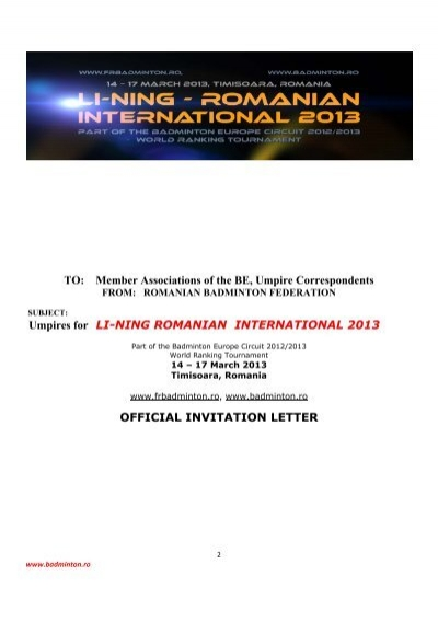 Umpires for li ning romanian international 2013 official invitation umpires for li ning romanian international 2013 official invitation letter stopboris Image collections