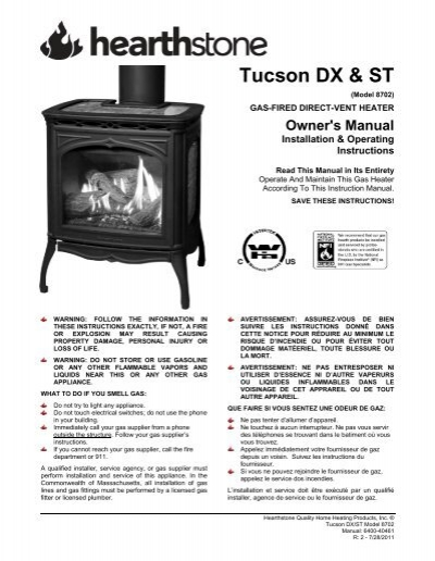 Tucson 8702 St And Dx Manual Hearthstone Stoves