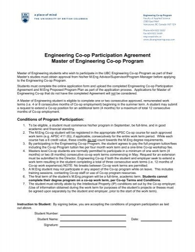 Engineering Co Op Participation Agreement Master Of Engineering Co