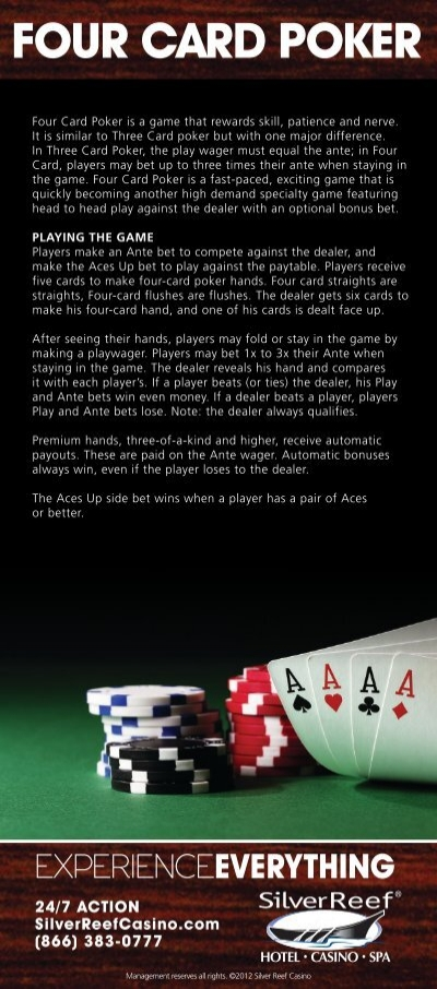 How much should i bet on the aces up in four card poker ig spread betting login to facebook