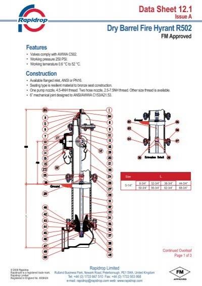 Data Sheet 121 Dry Barrel Fire Hyrant R502