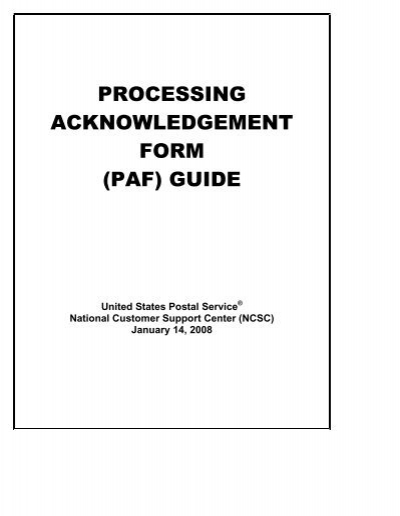 NCOALink® PROCESSING ACKNOWLEDGEMENT FORM - Mailrite