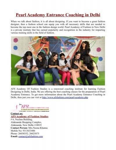 Pearl Academy Entrance Coaching In Delhi