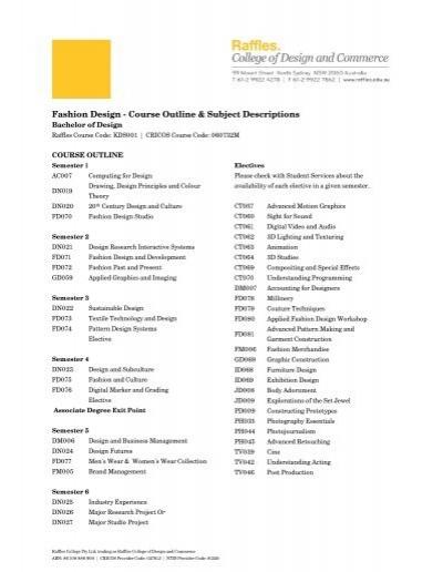 Fashion Design Course Outline Subject Descriptions
