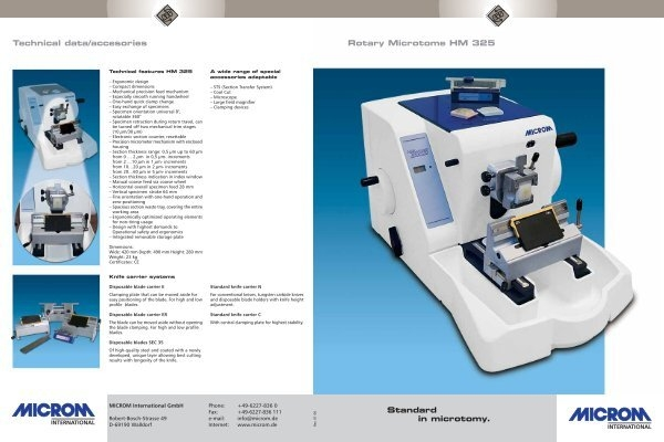 technical dataaccesories rotary microtome hm 325 standard in microtomy