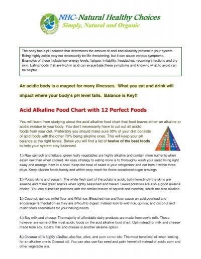 Acid Alkaline Food Chart With 12 Perfect Foods