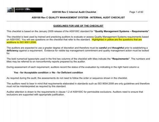 AS9100 Rev C Internal Audit Checklist Page 1 of 60 ... - Techstreet