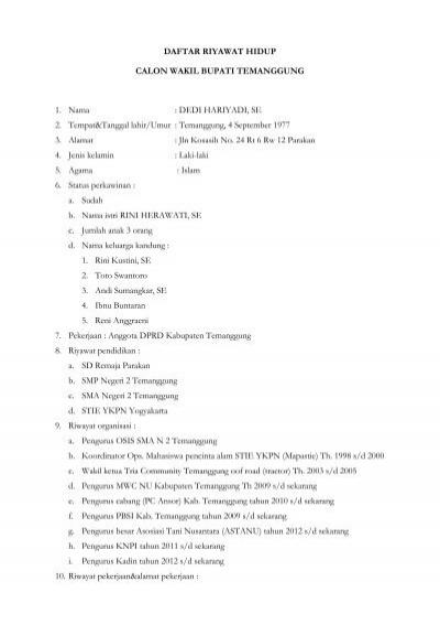 Daftar Riwayat Hidup Temanggung