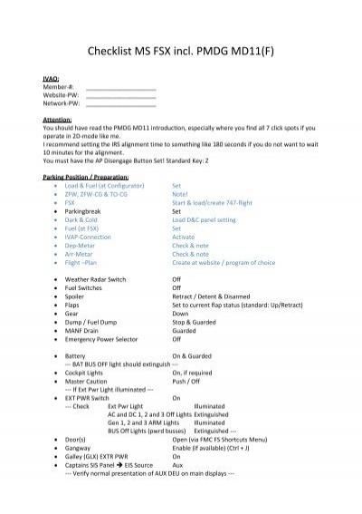 Checklist MS FSX incl PMDG MD11(F)