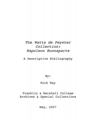 The Watts De Peyster Collection Napoleon Buonaparte