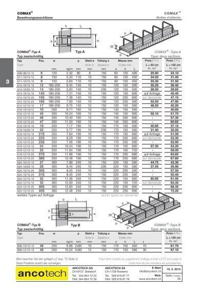 preisliste comax pdf ancotech ag schweiz. Black Bedroom Furniture Sets. Home Design Ideas