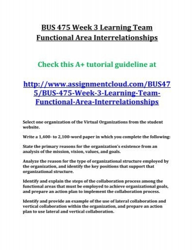 functional area interrelationships short essay Select one organization (the elias group) of the virtual organizations from the student website write a 350 to 400-word paper in which you complete the following:.