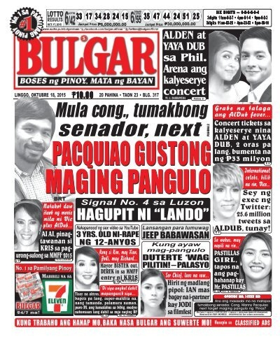 October 18, 2015 BULGAR: BOSES NG PINOY, MATA NG BAYAN