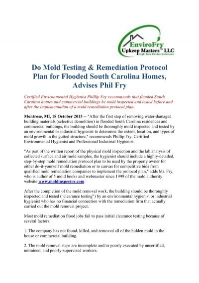 Do mold testing remediation protocol plan for flooded south do mold testing remediation protocol plan for flooded south carolina homes advises phil fry solutioingenieria Image collections