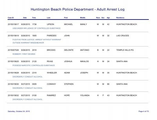 huntington beach arrest log Huntington