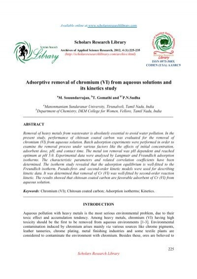 adsorptive removal of chromium vi scholars research library