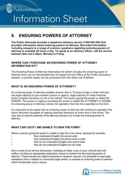 8 Enduring Powers Of Attorney