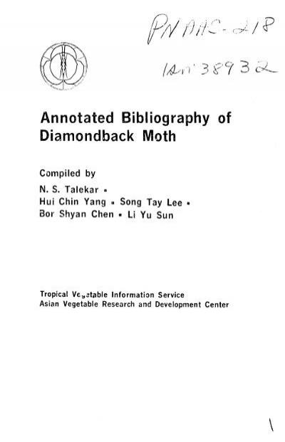 Annotated Bibliography Of Diamondback Moth Part