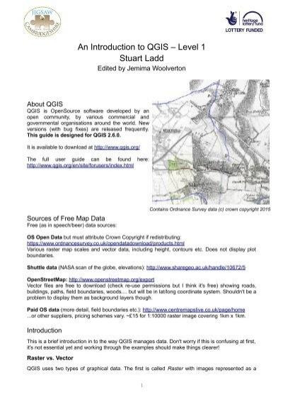 An Introduction to QGIS – Level 1 Stuart Ladd