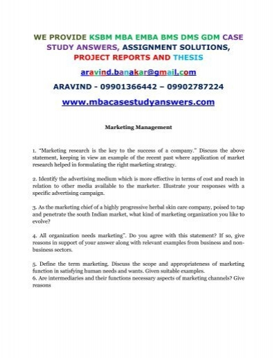 Marketing Management Case Studies With Answers