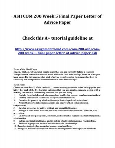 outline of letter of advice paper