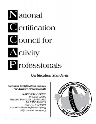 National Certification Council for Activity P rofessionals - NCCAP.or