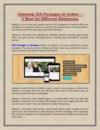 Choosing Seo Packages In Brisbane A Must For Different Businesses