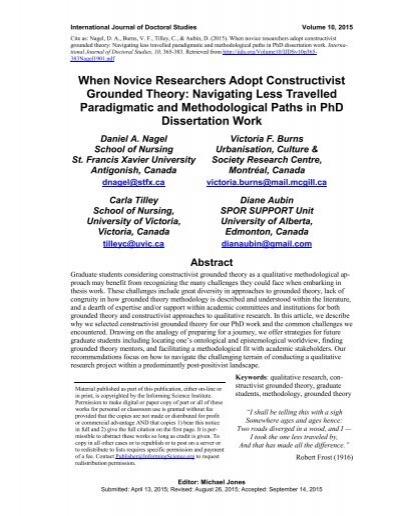 constructivist grounded theory dissertation The study depicts the procedure of writing a constructivist dissertation by reporting side by side the story of hiv-infected african american women's reproductive health decision-making.