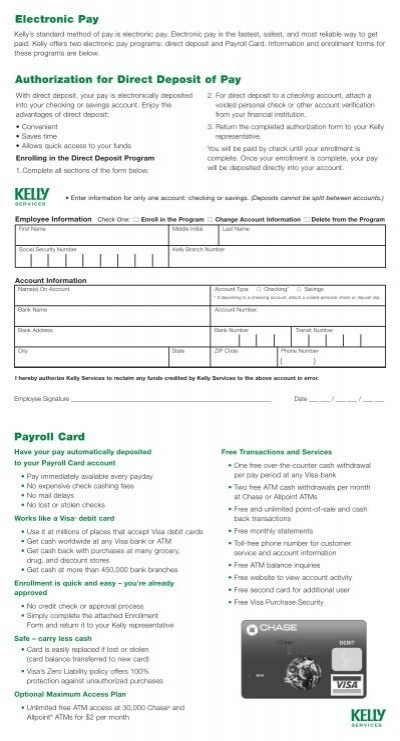 PAYROLL SERVICES DIRECT DEPOSIT AUTHORIZATION FORM – Payroll Authorization Form
