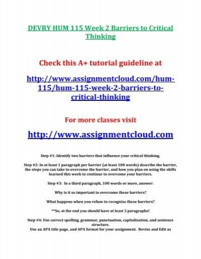 barriers to critical thinking hum 115 week 2