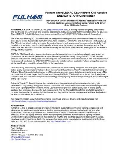 Fulham ThoroLED AC LED Retrofit Kits Receive ENERGY STAR® Certification