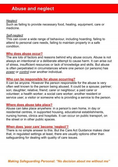 unit 204 safeguarding abuse What is abuse what is safeguarding how to report abuse what happens after you report abuse leaflets case studies i am a friend, relative or carer who does.