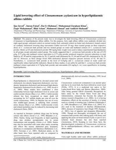 Lipid lowering effect of Cinnamomum zeylanicum in
