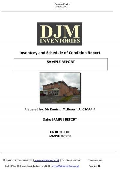 djm inventories ltd sample inventory 2 bedroom flat